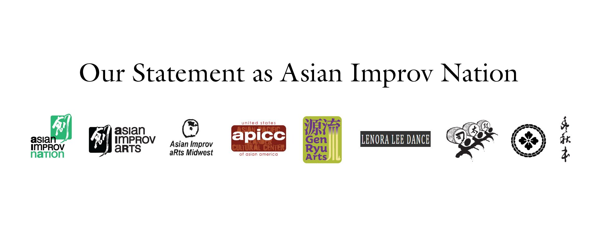Our Statement as Asian Improv aRts Midwest Banner with logos of the programs